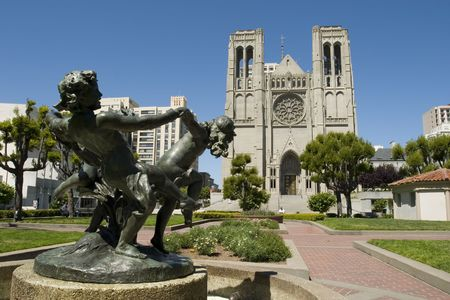 Fountain and Grace Cathedral in Nob Hill San Francisco Stock Photo
