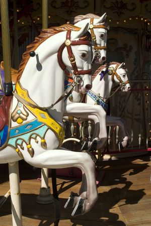 Carousel with white horse portrait in pier 39 San Francisco California
