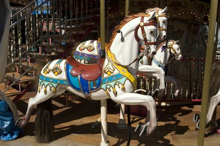 Horses in Carrousel in pier 39 San Francisco California