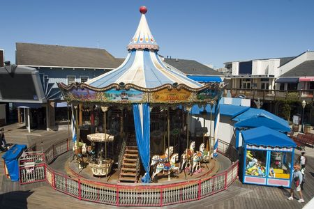 carrousel: Horses in Carrousel in pier 39 San Francisco California
