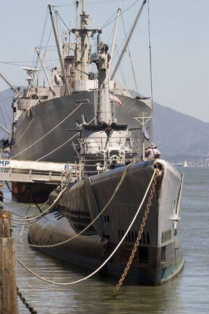 Submarine and War Ship in dock WW2