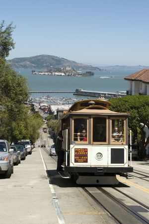 Cable Car with Alcatraz in the Background San Francisco California