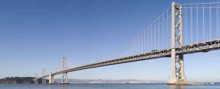 Panorama of Bay Bridge in San Francisco California with daylight