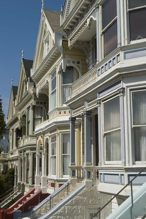 Alamos Square Seven Sisters one of the most famous views in San Francisco California Close up Stairs Portrait Stock Photo