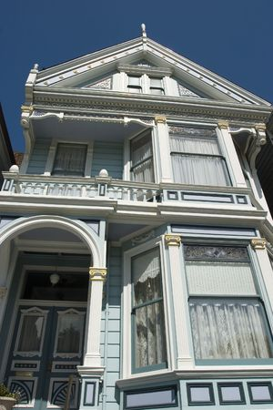Alamos Square Seven Sisters one of the most famous views in San Francisco California Close up Front  photo