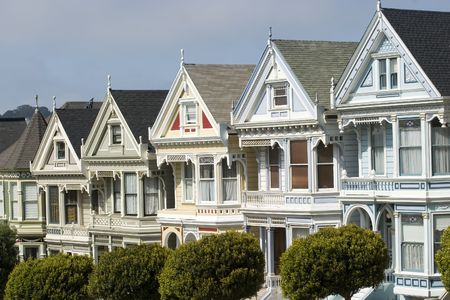 top seven: Alamos Square Seven Sisters one of the most famous views in San Francisco California Top Detail Close Up Stock Photo
