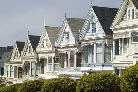 Alamos Square Seven Sisters one of the most famous views in San Francisco California Top Detail Close Up 版權商用圖片