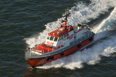 Golden Gate Coast guard boat full speed Stock Photo