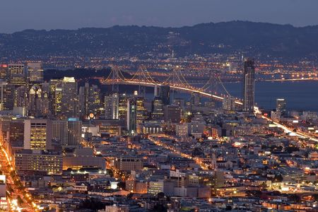 San Franciscos Financial District after Sunset, view from twin Peaks