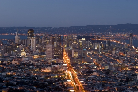 San Francisco's Financial District after Sunset, view from twin Peaks
