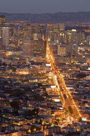 San Franciscos Financial District lights at night, view from twin Peaks Stock Photo