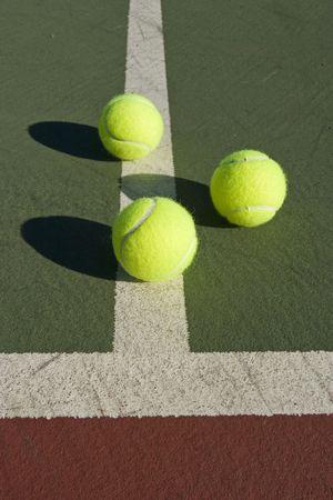 Tennis Balls over court close ups