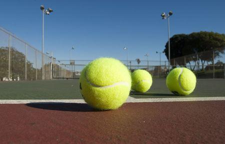 close ups: Tennis Balls over court close ups