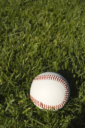 outfielders: Base Ball Close up on grass