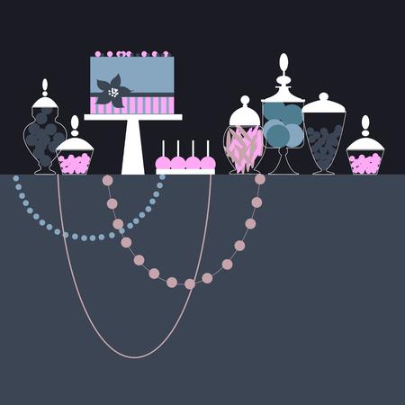 Wedding candy bar with cake. Dessert table. Vector illustration. Illustration