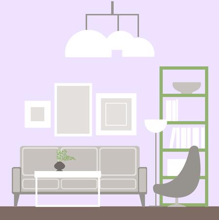 Living room – vector Illustration. Vector Living room interior.