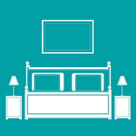 Bedroom– vector Illustration. Vector Bedroom interior. Ilustrace
