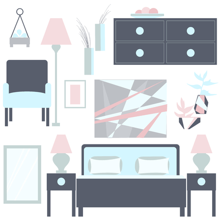 Bedroom– vector Illustration. Vector Bedroom interior.