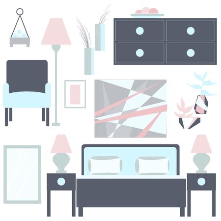 Slaapkamer vector illustratie. Vector Slaapkamer interieur. Stock Illustratie