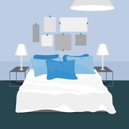 Bedroom– vector Illustration. Vector Bedroom interior. Illustration