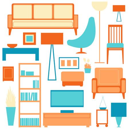Living room - vector Illustration. Vector Living room interior.