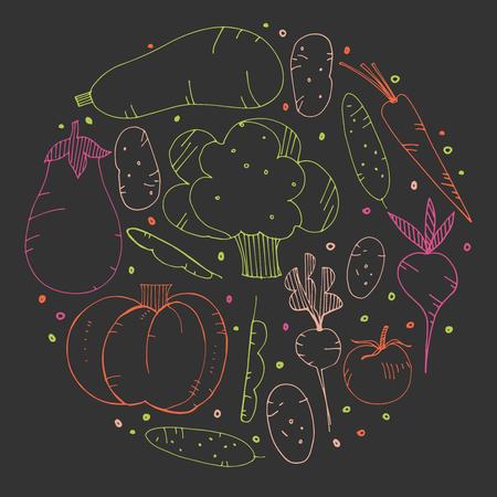 Hand-drawn vegetables doodles. Vector illustration