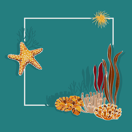 Algae, corals and starfish. Vector background.