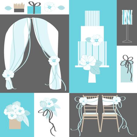 wedding reception decoration: Wedding flowers, cake, decoration for chairs, bridal bouquet. Vector illustration.