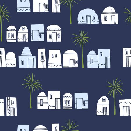 Hand drawn cute houses and palm trees. Vector seamless pattern.