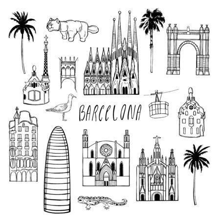 Sights of Barcelona. Vector sketch illustration