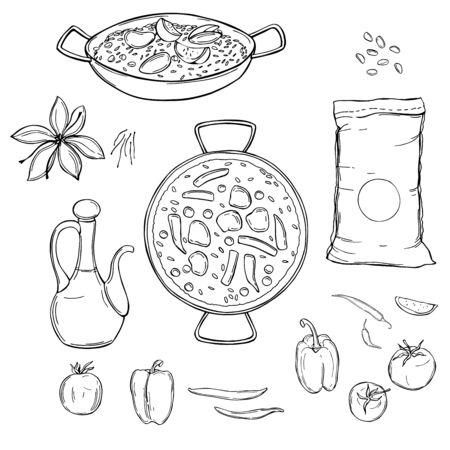 Paella set. Vector sketch illustration
