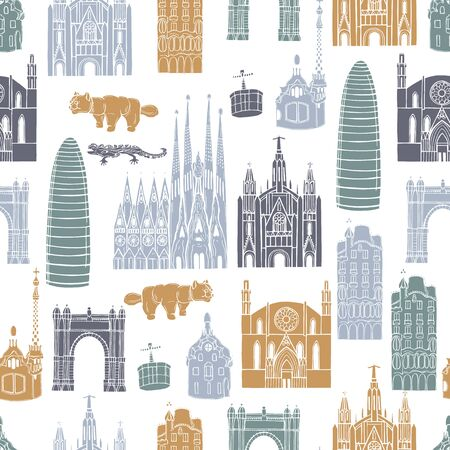 Sights of Barcelona. Vector  seamless pattern.