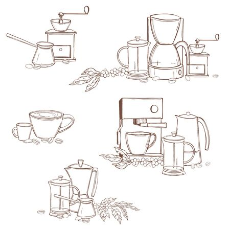 Hand drawn coffee set. Ð¡offee makers  and grinders. Vector sketch  illustration.
