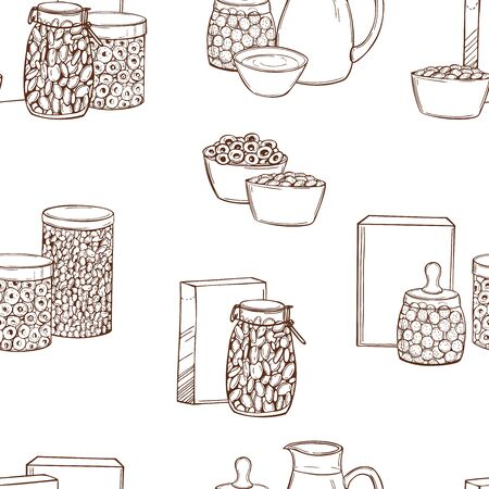 Hand drawn breakfast cereals set. Vector seamless pattern.