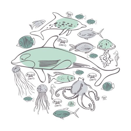 Hand drawn sea fish in a circle. Vector sketch  illustration.