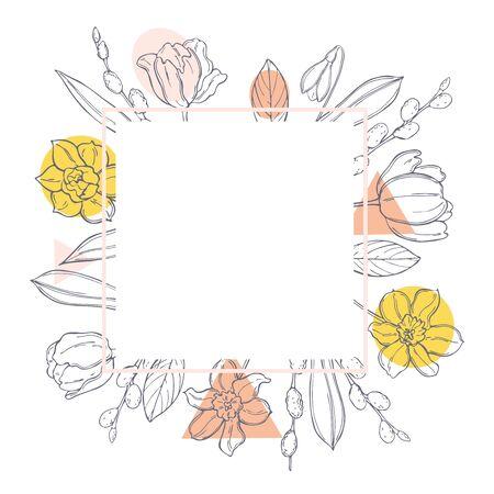 Hand drawn spring flowers. Vector sketch  illustration.
