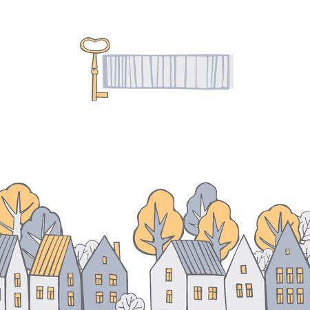 Vector background with hand drawn houses. Sketch  illustration. Illusztráció