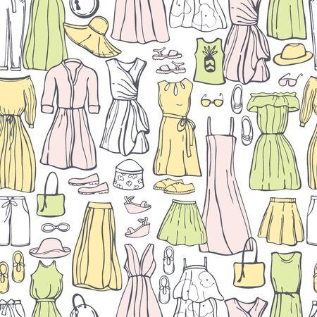 Summer fashion. Hand drawn women's clothing and shoes. Vector seamless pattern. Vektorgrafik