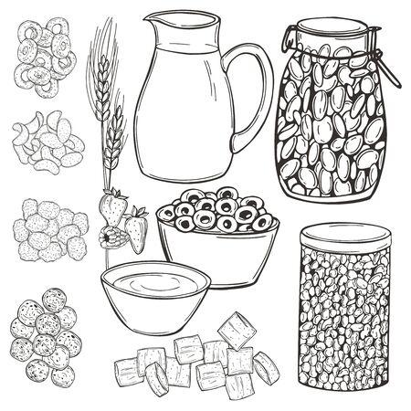 Hand drawn breakfast cereals set. Vector sketch illustration