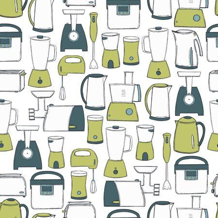 Hand drawn kitchen appliances. Vector seamless pattern Vector Illustratie
