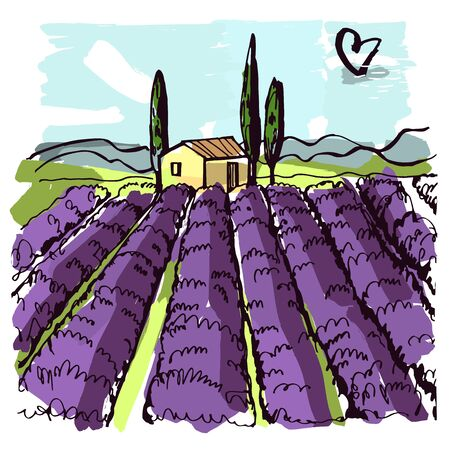 Hand drawn landscape of Provence. House and lavender fields. Vector sketch illustration.