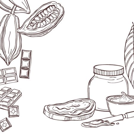 Vector background with chocolate paste. Sketch illustration