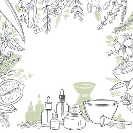 Aromatherapy. Aroma lamp and essential oils. Vector background. Sketch illustration.