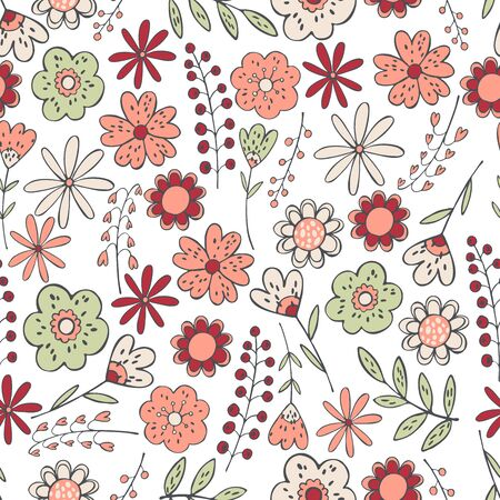 Floral background. Seamless vector pattern with hand drawn flowers