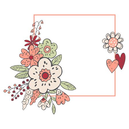 Floral background  with hand drawn flowers and hearts .