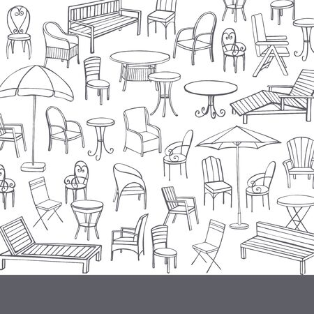 Hand drawn garden furniture. Vector background. Sketch illustration.