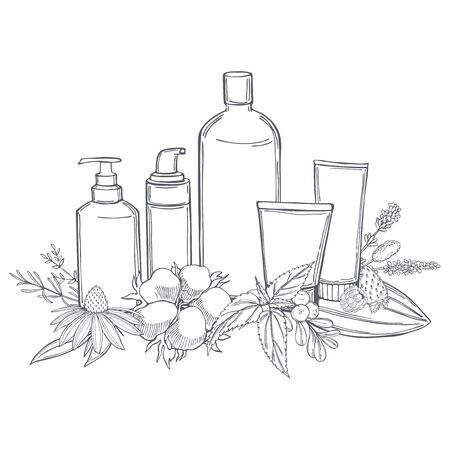 Hand drawn cosmetic bottles and plants for natural cosmetics.  Organic cosmetics background. Vector sketch  illustration. 矢量图像