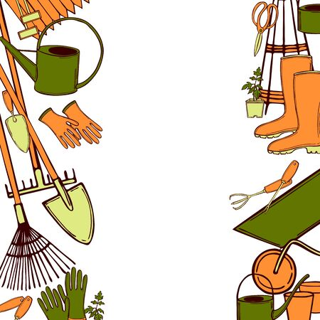 Vector background with hand drawn garden tools. Sketch  illustration.