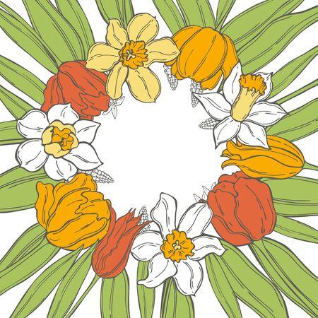 Hand drawn spring flowers. Vector background. Sketch  illustration.