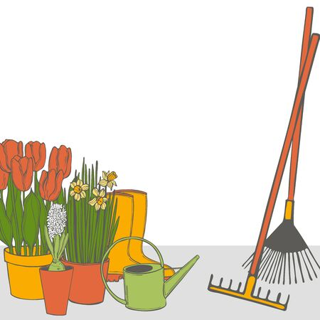 Vector background with garden tools and spring flowers in pots. Sketch  illustration. 일러스트